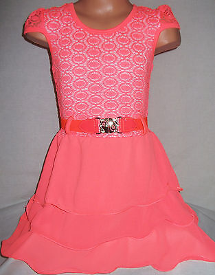 GIRLS NEON CORAL LACE CHIFFON LAYER RUFFLE DANCE PARTY DRESS with BELT