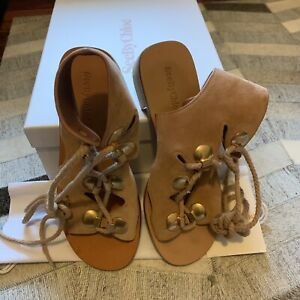 7a089fc69 Image is loading See-By-Chloe-Edna-Suede-Lace-Up-Sandal-