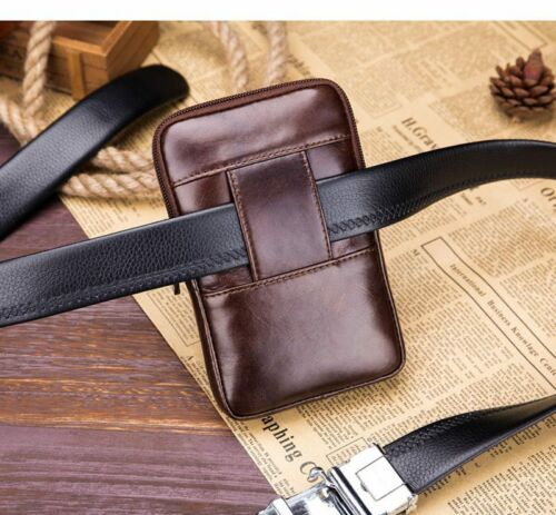 Men/'s Hi-Q Leather Fanny Waist Bag Cell//Mobile Phone Purse Pocket Belt Bum Pack