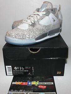 1722ce55ed9c Air Jordan Retro 4 IV Laser White Gold Pop Up Shop Boy s Sneakers ...