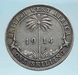 1914-British-WEST-AFRICA-UK-King-George-V-Genuine-Silver-Shilling-Coin-i78284