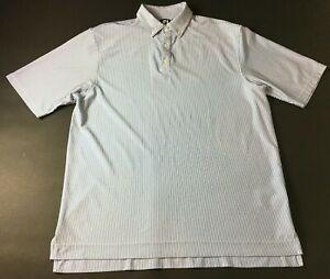 Footjoy-Golf-Mens-Blue-White-Striped-Short-Sleeve-Polo-Shirt-Size-XL