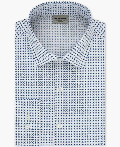 Size 15.5 32//33 Kenneth Cole Slim Fit Spread Flex Dress Shirt White//Blue//Gray