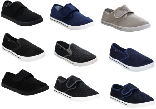 MENS SLIP ON TOUCH CANVAS PLIMSOLLS PUMPS MESH BEACH FLAT TRAINERS CASUAL SHOES