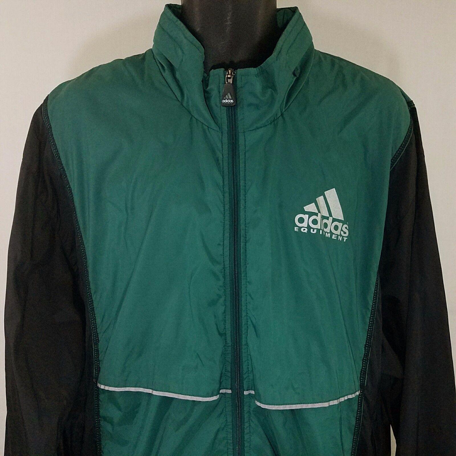 Adidas Equipment Uomo Windbreaker Jacket Vintage 90s Full Zip Roll Up Hood Large