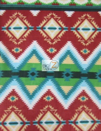 BY THE YARD BLANKET AZTEC INDIAN PRINTED FLEECE FABRIC Tribal Diamonds Green