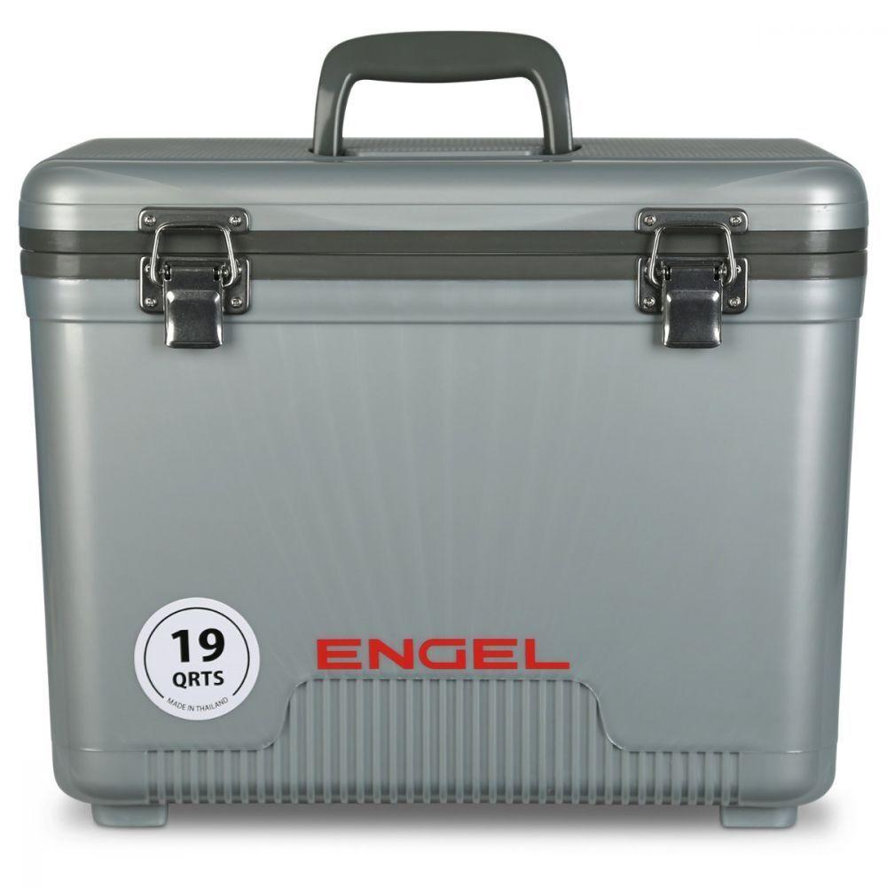 Caja con Cebo Engel 19 Qt ligero Enfriador de hielo seco con correa para el hombro, Plata