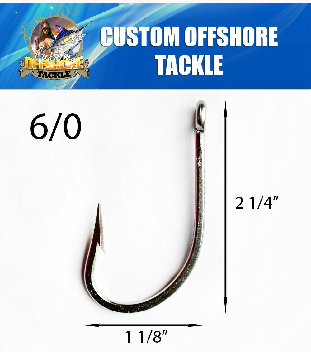 50 PK Stainless Steel Sea Demon Hooks Size 6 0 Marlin,Shark Etc.