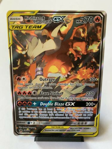 FULL ART Reshiram & Charizard GX ULTRA RARE SM Black Star Promo SM201 Pokemon NM