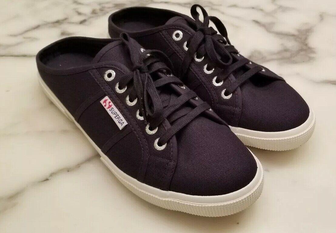 Superga Womens Navy bluee Slip-on Canvas Lace Up Sneaker Size 39.5 US 8.5 NWO box