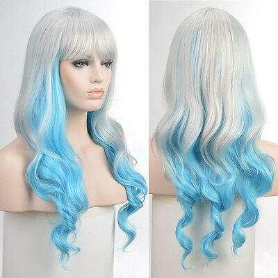 Lady Silver Blue Cosplay Party Gradient Hair Long Wavy Curly Ombre Neat Bang Wig