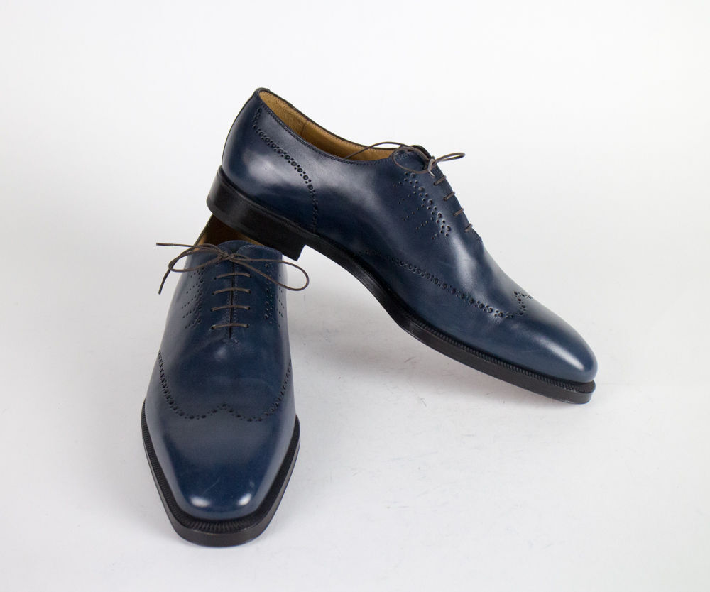 New SUTOR MANTELLASSI bluee Leather Wingtip Oxfords shoes SIze 17 US