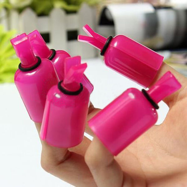 5pcs Hot Plastic Nail Art Acrylic UV Gel Soaker Kit Polish Remover Cap Clip Tips