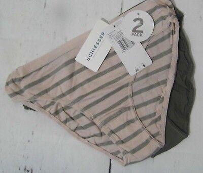 Schiesser  Tai Slip Pants  Schlüpfer Doppelpack  Gr S 36 oliv grün rosa