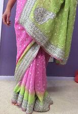 New Bollywood Ombre Pink Saree Sari Lehenga Indian Pakistani Bridal Wedding