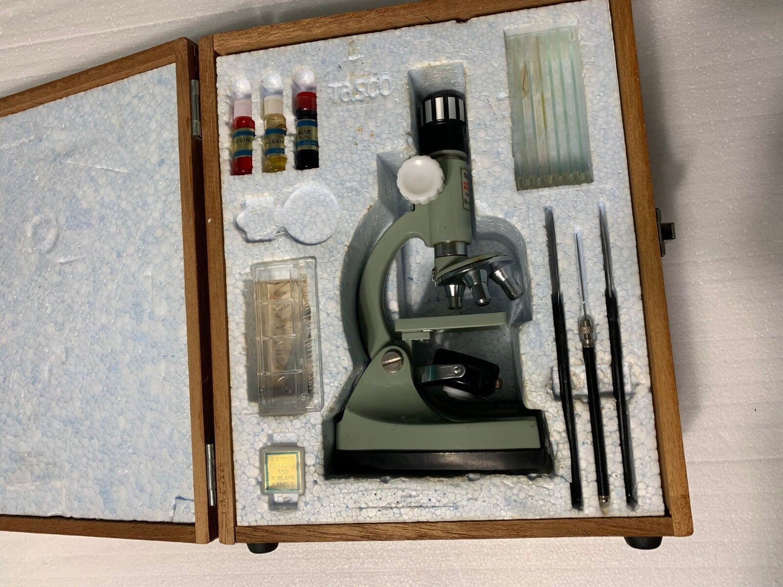 Vintage Tasco Deluxe Microscope Set in Wooden Case