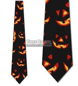 Jack O Lantern Ties Glowing Pumpkin Neckties Mens Halloween Neck Tie Brand New