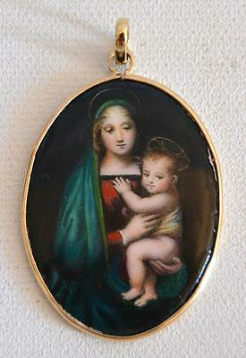 19th Century Madonna and Child Enamel Pendant with 14K Gold Frame