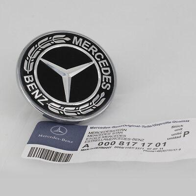 57mm Car Logo for Emblem Mercedes Benz Hood Black Flat Laurel Wreath Front Badge