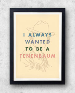 I Always Wanted To Be A Tenenbaum Poster, Wes Anderson, Eli Cash, Owen Wilson