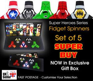 Avengers-Bangers-doigt-Spinner-Hulk-Spiderman-Batman-Captain-America-Lot-de-5