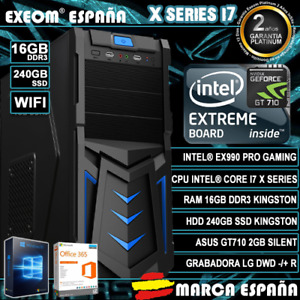 Ordenador Gaming Pc Intel i7X 16GB SSD 240GB GT710 2GB WIFI Windows 10 Sobremesa