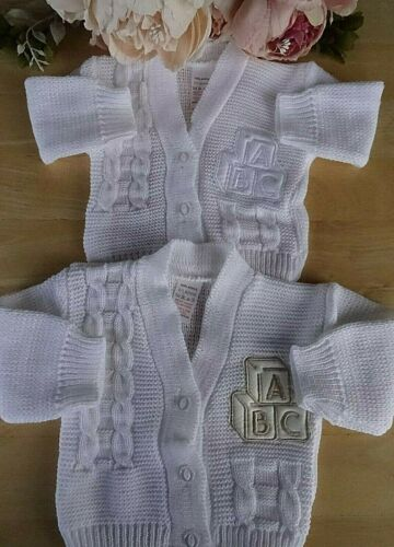 Baby Boy Girl White Cable Knitted ABC Applique Long Sleeve Cardigan 0-6-9m
