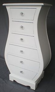 CHIC-FRENCH-WHITE-6-CURVED-CHEST-DRAWERS-CABINET-CRYSTAL-KNOBS-TALLBOY-ANTIQUE