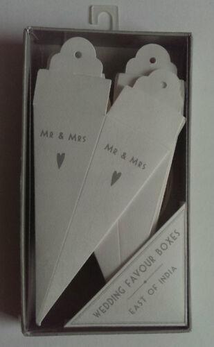 Boîte de faveur nuptiale cônes Monsieur /& Madame crème blanche