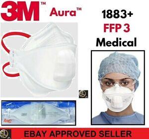 3M™ Aura™ Atemschutzmaske 1883+ FFP3 mit abgedecktem Spezial- Ausatemventil