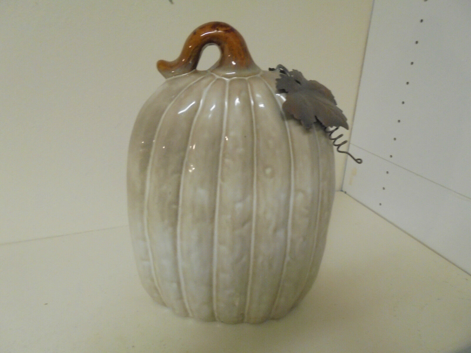 Tall and Thin Large Ceramic Cream Pumpkin with Metal Fig Leaves 14x7x4