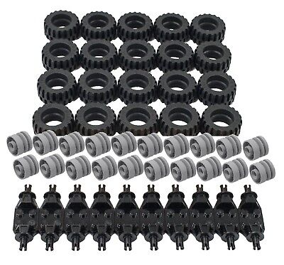 ☀️NEW Lego Tire Wheel and Square Axles Bulk Lot 100 Pieces Total
