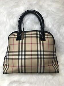 5dfb434e95de AUTH Burberry Nova Check Canvas handbag Medium Tote Satchel Patent ...