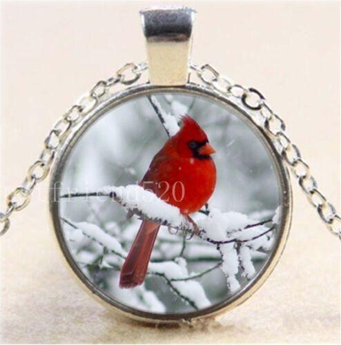 Oiseau rouge dans la neige cabochon verre Tibet Argent Chaîne Collier Pendentif