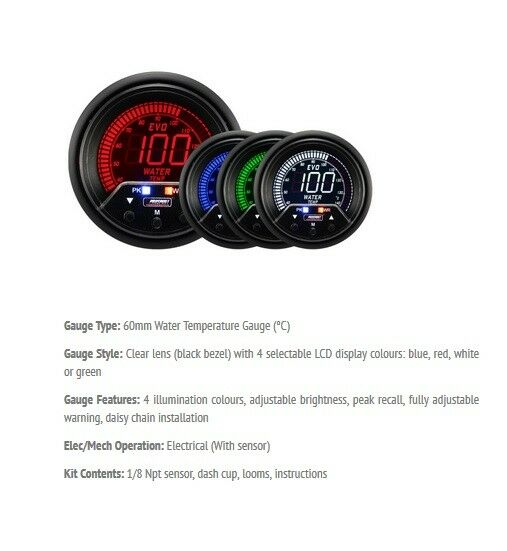 Blue Turbo Boost Oil Water Temp ANY 3 GAUGE OFFER 52mm Prosport Evo LCD Red