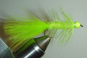 Green 3 Each Wooly Bugger Chartreuse