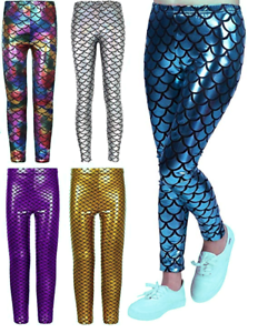 bdd82ce31ff46f Image is loading Crazy-Chick-Girls-Metallic-Fish-Scale-Leggings-Mermaid-