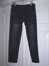 OK Junior Leggings/Pants 3 Black Distressed Rhinestones Skinny/Slim/Stretch