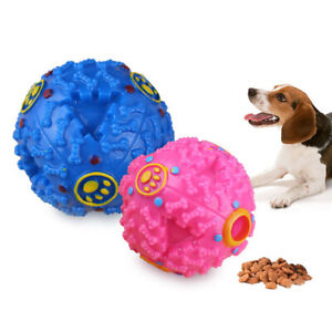 Dog-Pet-Play-Squeaky-Chew-Ball-Food-Dispenser-Ball-Toy-Quack-Sound-Training-JR