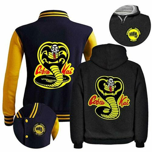 Cobra Kai 80s Karate Film Inspired Snake Logo Men/'s No Mercy Strike Jacket