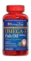 Puritan's Pride Triple Strength Omega-3 Fish Oil 1360 Mg (950 M... Free Shipping