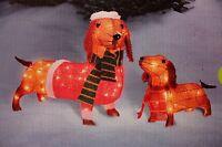 Set 26 Light Up Lit Dachshund Weiner Dog Prelit Christmas Yard Decor Decoration