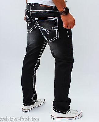 Herren Jeans Designer Kosmo Hose Cargo Style Grau dicke Naht Nähte Clubwear NEU