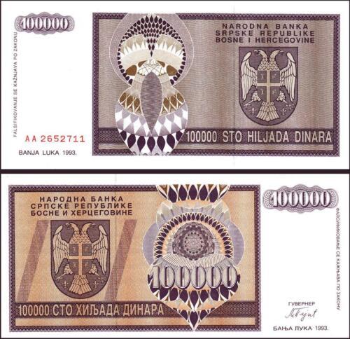 BOSNIA HERZEGOVINA SERBIA 100000 DINARA 1993 AA SERIAL P-141 UNC