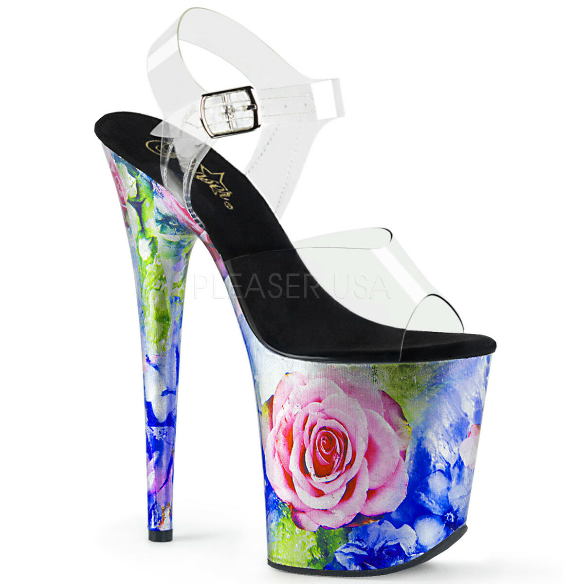 Super High Platform Heels Rosa Flower Print Print Print Pleaser Flamingo-808 Stripper schuhe 56839d