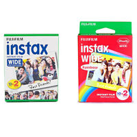 Plain & Rainbow Fujifilm Instax Wide Film Polaroid 40 Instant Photos Value Set