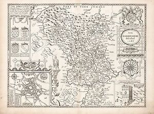 Map Of England Derbyshire.Old Vintage Derbyshire England Decorative Map Speed Ca 1676 Paper