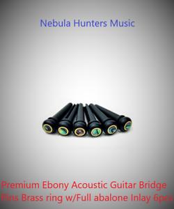 Premium Ebony Acoustic Guitar Bridge Pins Brass ring w// Full abalone Inlay 6pcs