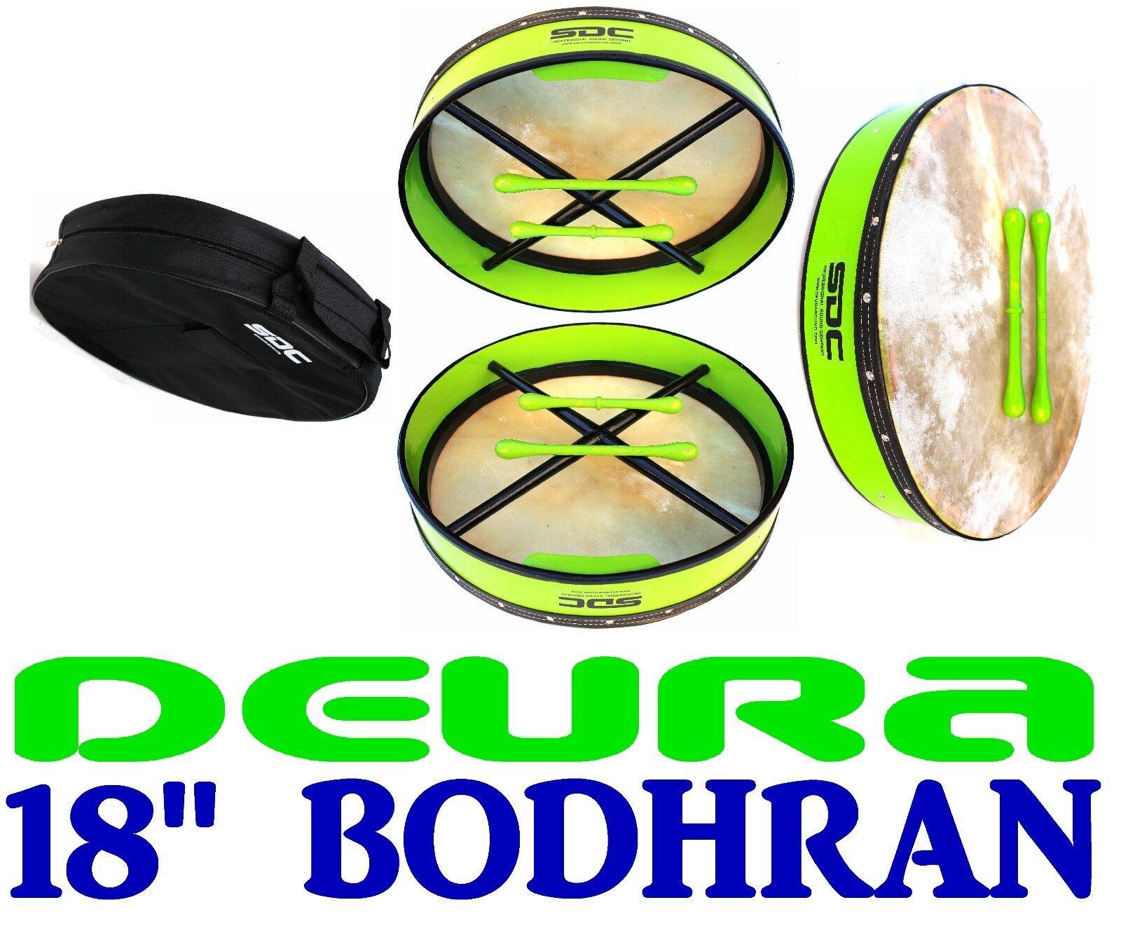 DEURA SDC 18 INCH GREEN IRISH BODHRAN + CASE + 2 BEATERS DB18PG