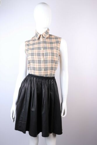 BURBERRY BRIT Black Leather Pleated Skirt Size UK8